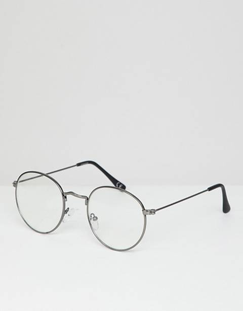 ASOS DESIGN round glasses in gunmetal with clear lens