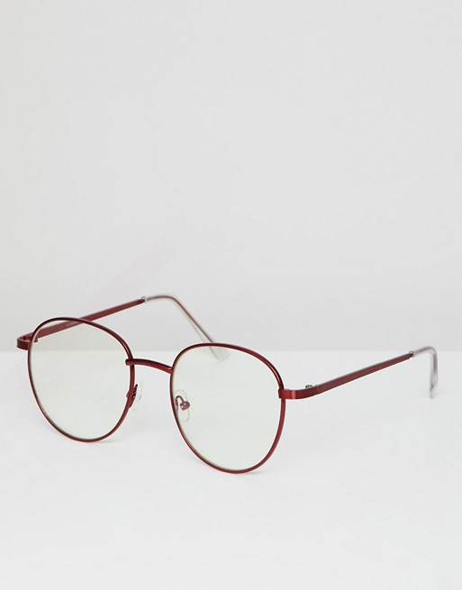 ASOS DESIGN round glasses in red metal with clear lens