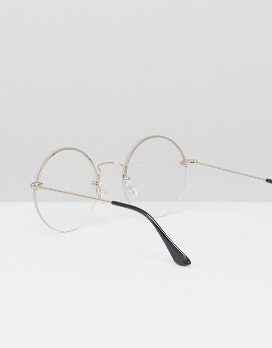 Asos Design Round Glasses In Silver With Laid On Clear Lens by Asos Design