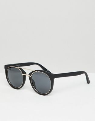 Image 1 of ASOS DESIGN round sunglasses in black with metal details