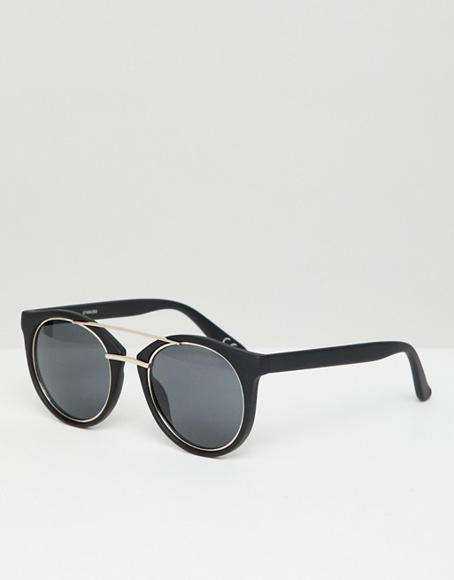 ASOS DESIGN round sunglasses in black with metal details