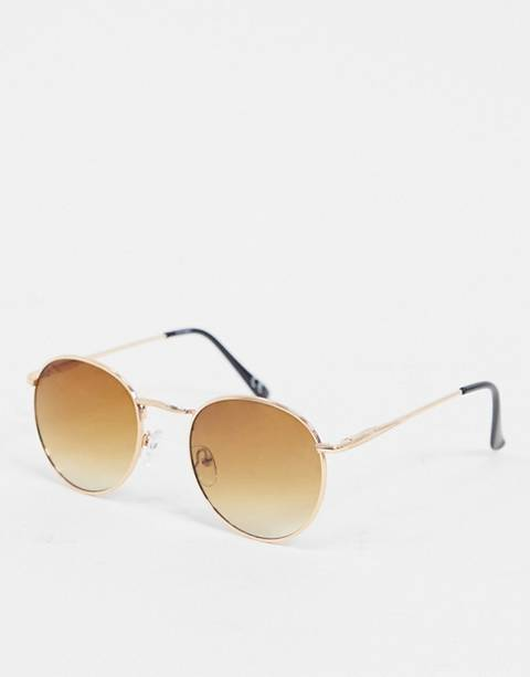 ASOS DESIGN round sunglasses in copper with brown grad lens