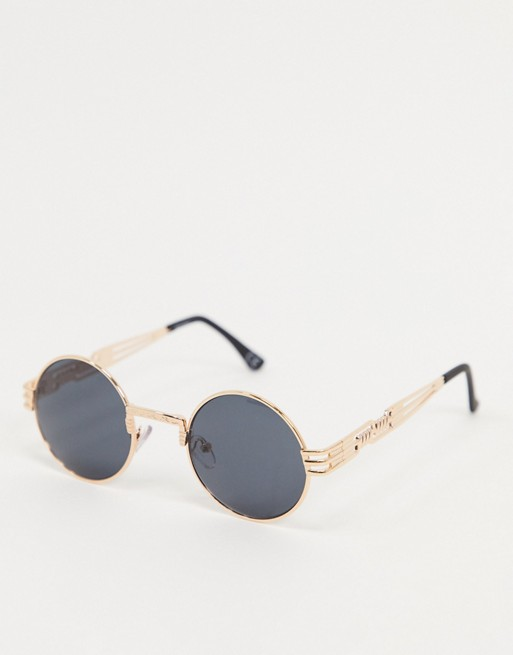 ASOS DESIGN round sunglasses in gold with arm detail