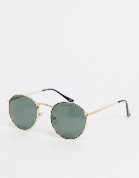 ASOS DESIGN round sunglasses in gold with nose bridge detail