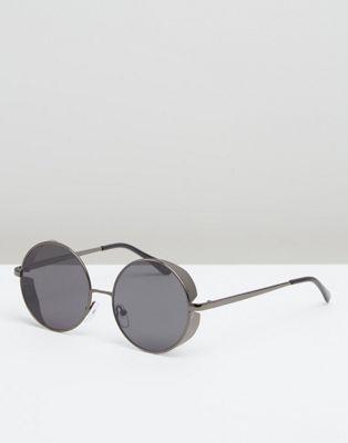 ASOS DESIGN round sunglasses in gunmetal with side cap
