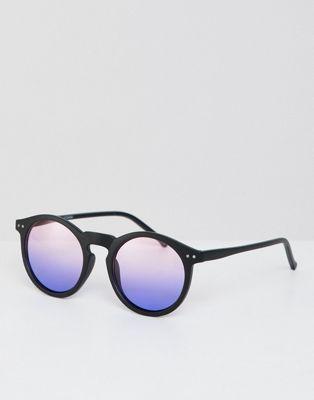 Image 1 of ASOS DESIGN round sunglasses in matte black with purple grad lens
