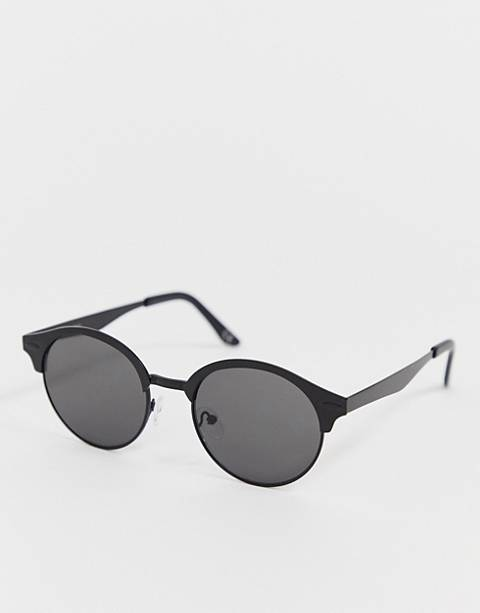 ASOS DESIGN round sunglasses in matte black with smoke lens