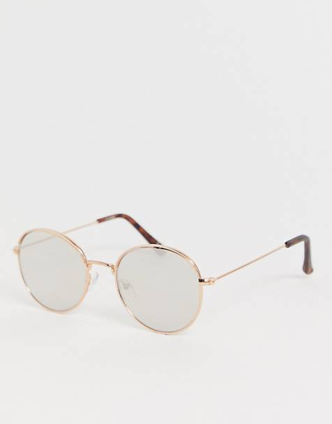 ASOS DESIGN round sunglasses in rose gold with cap detail & silver mirrored lens