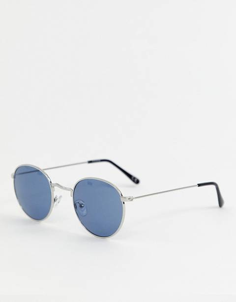 ASOS DESIGN round sunglasses in silver with navy lens