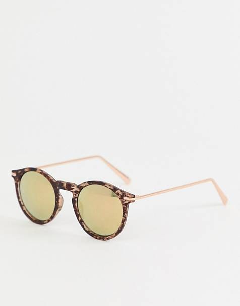 ASOS DESIGN round sunglasses with metal arms and flash lens in matt tort