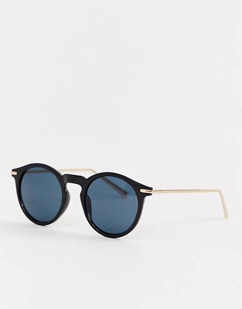 ASOS DESIGN round sunglasses with metal arms in shiny black