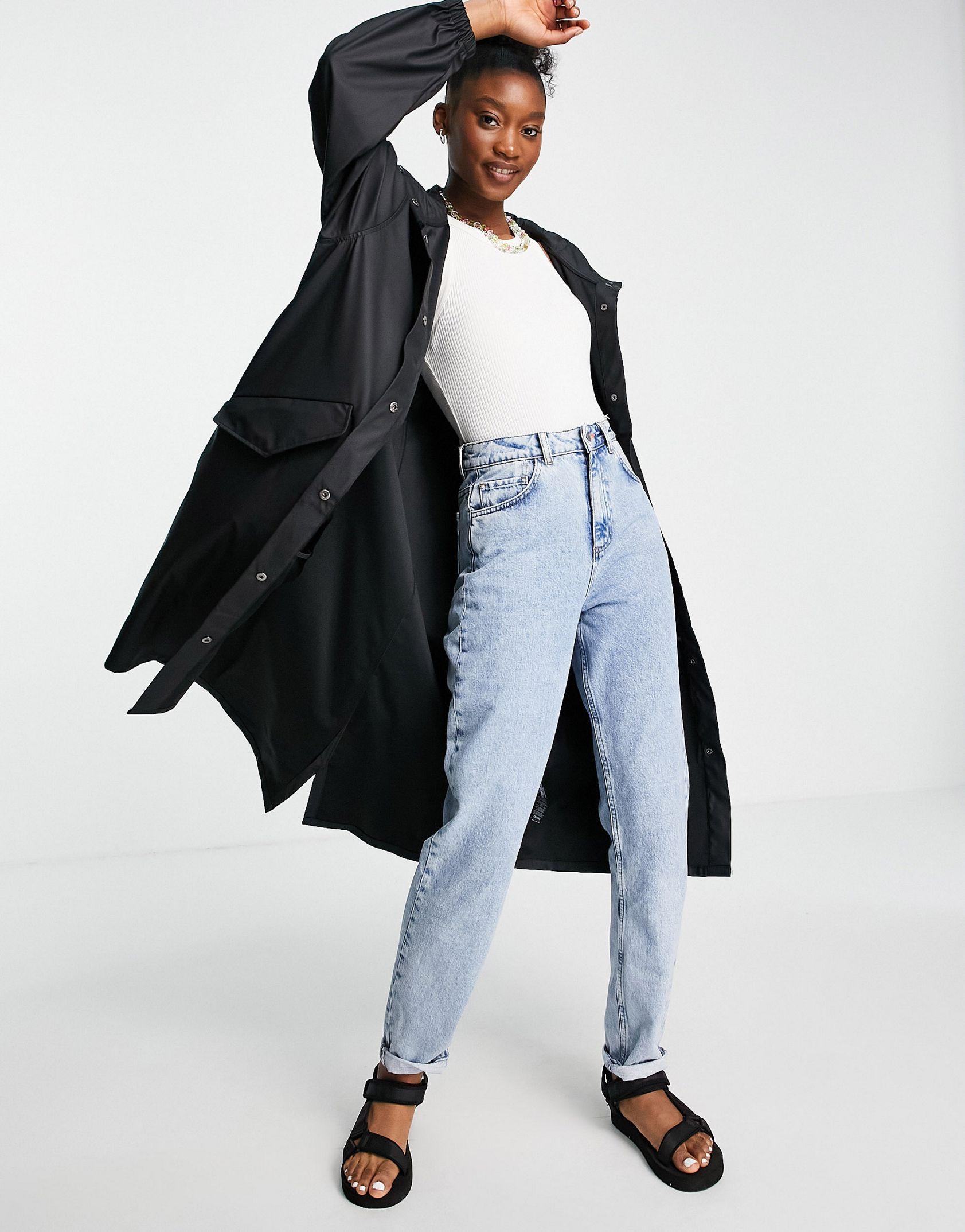 ASOS DESIGN rubberised midi rain coat in black -  Price Checker
