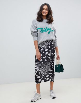 ASOS DESIGN ruched side slinky midi skirt in mixed animal print