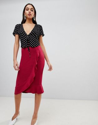 ASOS DESIGN Ruffle Front Wrap Pencil Skirt