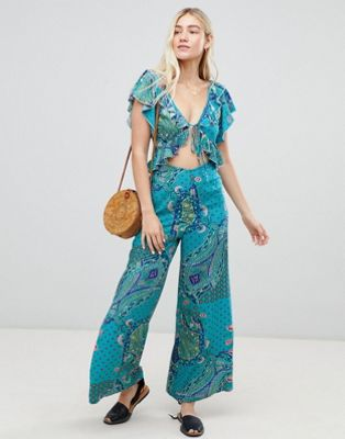 ASOS DESIGN ruffle jumpsuit in paisley print with cut out detail