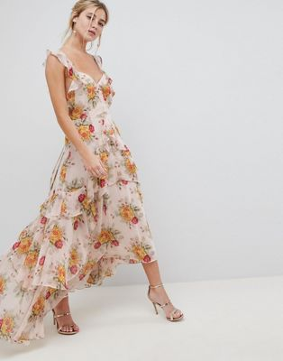 ASOS DESIGN ruffle maxi dress in rose floral print