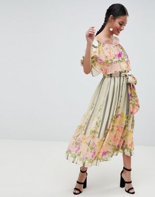 ASOS DESIGN Ruffle Top Bandeau Midi Dress In Floral Stripe Print
