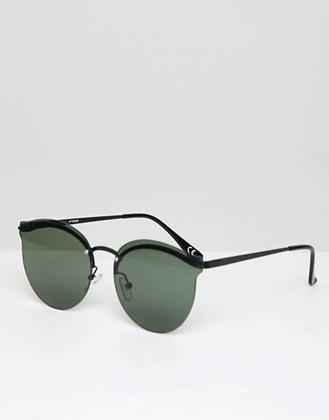ASOS DESIGN – Runde Metall-Sonnenbrille in Schwarz mit grünen Gläsern