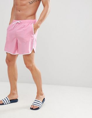ASOS DESIGN Runner Swim Shorts In Pink With White Binding Mid Length
