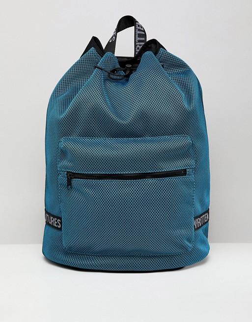 ASOS DESIGN - Sac à dos bourse en tulle avec poche pour ordinateur portable interne - Bleu