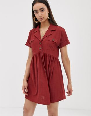 Image 1 of ASOS DESIGN safari mini textured smock dress with button detail