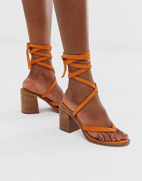 ASOS DESIGN – Sandalen aus Wildleder mit tropischem Design und Beinschnürung