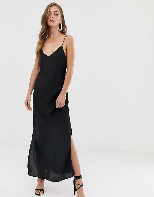 satin cami maxi slip dress (with split)