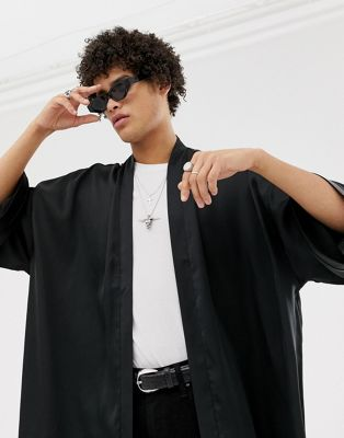 Image 1 of ASOS DESIGN satin kimono in black