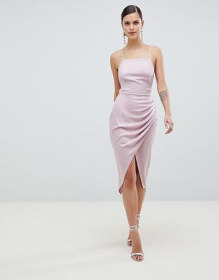Image 1 of ASOS DESIGN Satin Ruched Side Midi Dress With Strappy Back