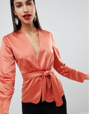 ASOS DESIGN satin top with tie waist detail