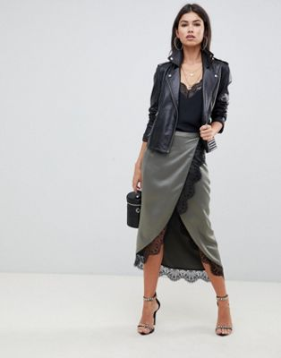 Image 1 of ASOS DESIGN satin wrap midi skirt with lace trim