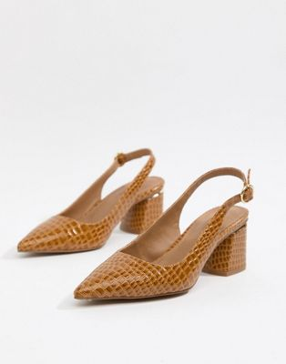 ASOS DESIGN Saucer slingback pointed heels in croc