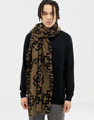 ASOS DESIGN scarf in brown with design detail