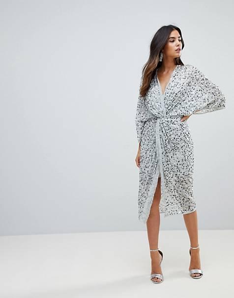 9da510f03a7456 ASOS DESIGN scatter sequin knot front kimono midi dress