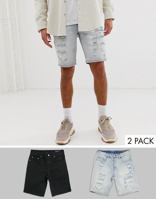 ASOS DESIGN – Schmal geschnittene Jeansshorts mit großen Rissen, in verwaschenem Schwarz & heller Waschung