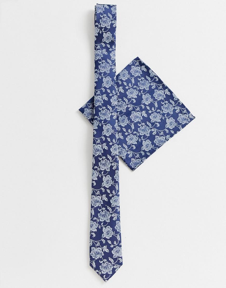 ASOS DESIGN – Schmale Krawatte und Einstecktuch in Marine-Navy | Accessoires > Krawatten > Schmale Krawatten | ASOS DESIGN