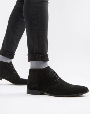 ASOS DESIGN – Schwarze Chukka-Stiefel in Wildlederoptik
