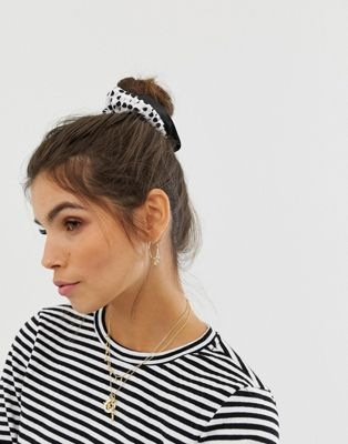 ASOS DESIGN scrunchie with frills in polka dot