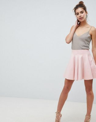 ASOS DESIGN scuba mini skirt with high waist and box pleat