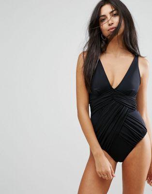 ASOS DESIGN 'Sculpt Me' Control Drape Front Supportive Swimsuit
