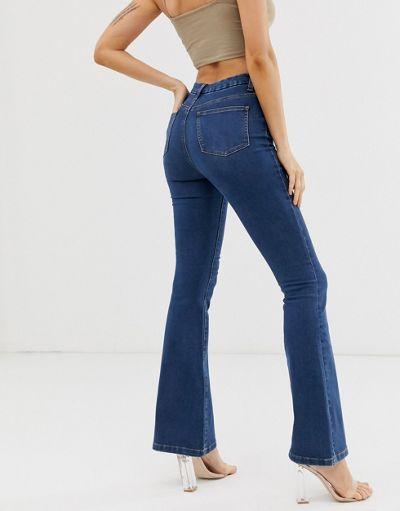 ASOS DESIGN Sculpt me full length flare in mid vintage blue wash