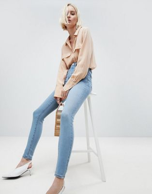 ASOS DESIGN 'Sculpt Me' High Rise Premium Jeans In Antoinette Mid Wash Blue