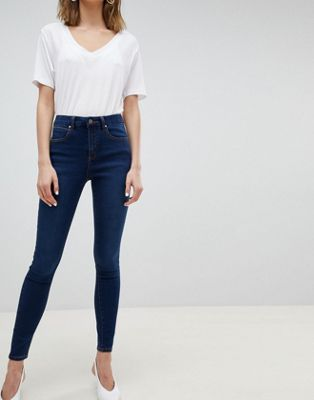 ASOS DESIGN Sculpt Me High Waisted Premium Jeans In Rushmore Blue