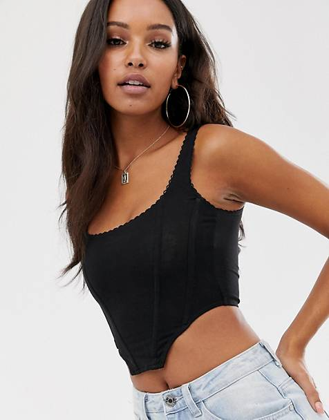 ASOS DESIGN seamed corset top with trim