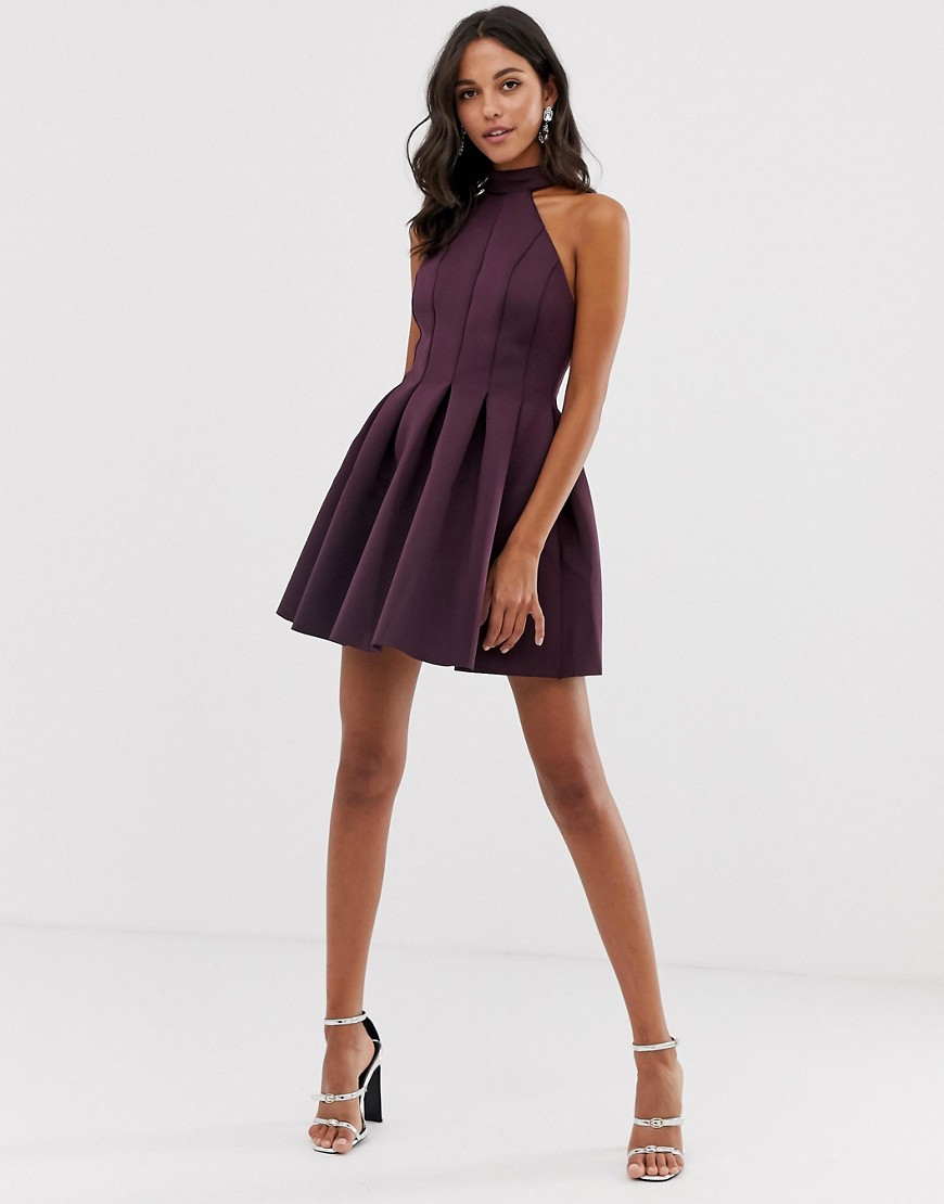 Asos Design Seamed Halter Mini Prom Dress by Asos Design