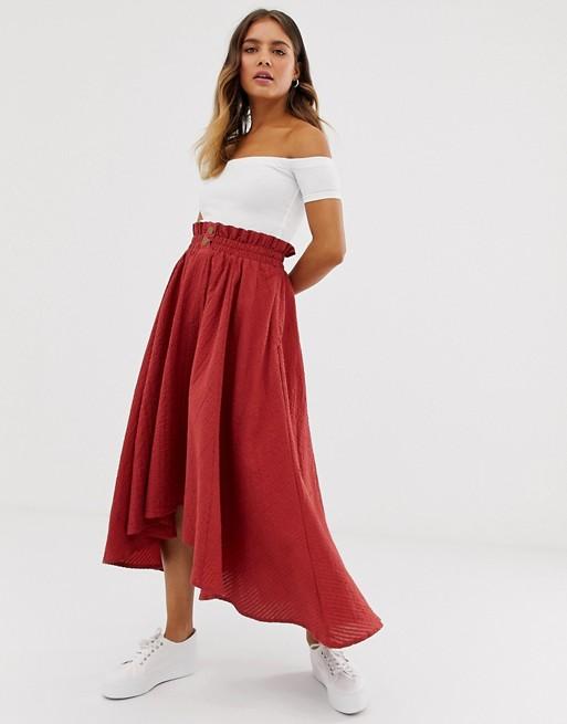 Image 1 of ASOS DESIGN seersucker full midi skirt with shirred waistband