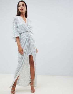 ASOS DESIGN sequin kimono maxi dress