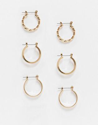 ASOS DESIGN - Set da 3 orecchini a cerchio oro da 20 mm