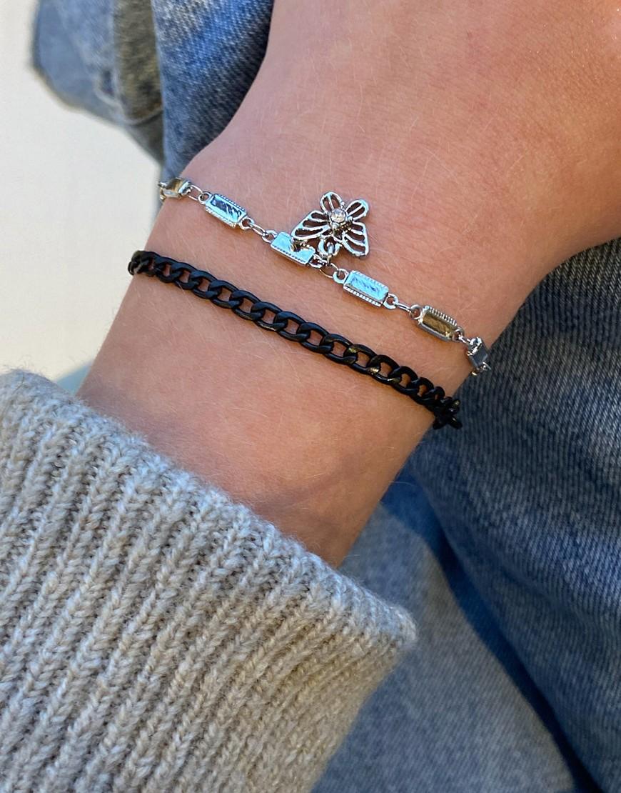 ASOS DESIGN Set van 2 armbanden met zwarte ketting en vlinderhangertje in zilverkleur