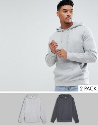 ASOS DESIGN - Set van 2 hoodies in antraciet/gemêleerd grijs